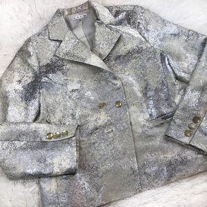 CAbi Limited Edition Chalet Silver Foil Blazer